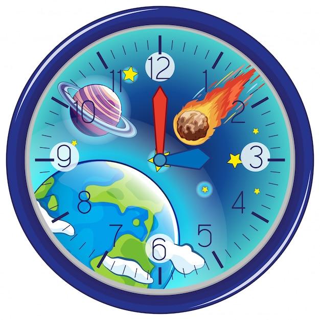 Galaxy reloj blanco de fondo