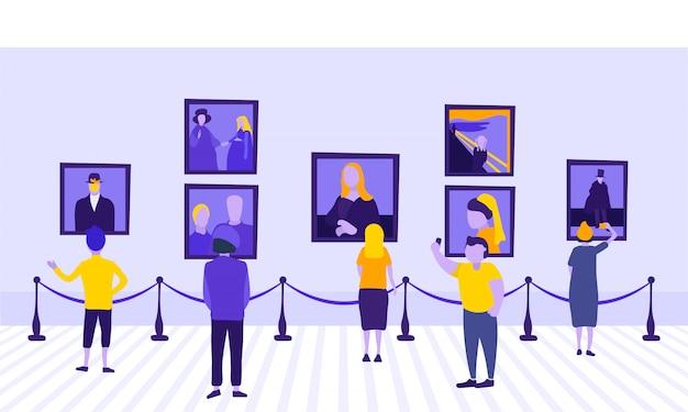 Galería de arte clásico con turistas.