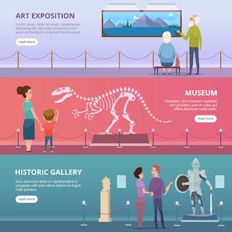 Galería de arte. gente caminando en el museo mirando pinturas y estatuas en pancartas horizontales de vector de exposición. exposición de la galería de arte de ilustración, museo y excursión al estudio de espectáculos