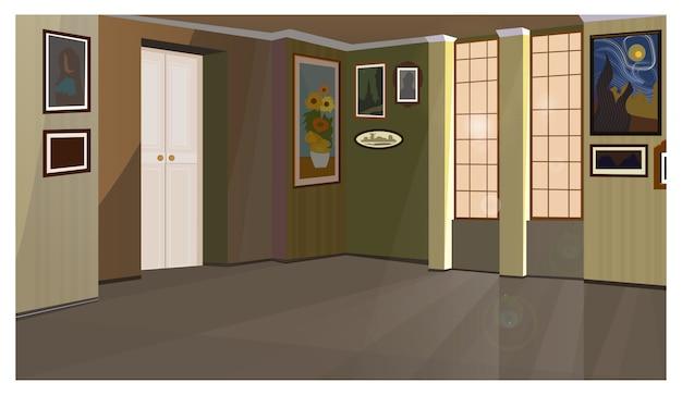 Galeria de arte con ilustraciones en paredes de ilustración.