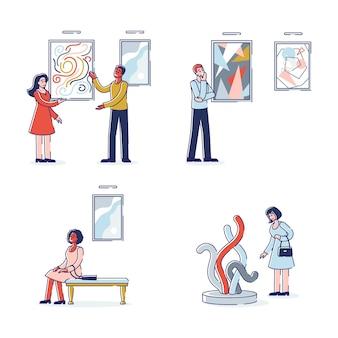 Galería de arte moderno con visitantes