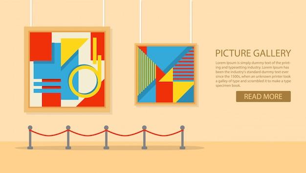 Galería de arte en el museo en estilo plano un vector. exposición del arte moderno.