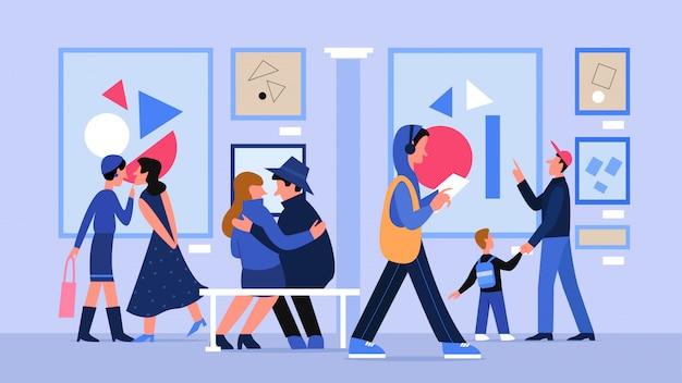 Galería de arte del museo con ilustración de personas