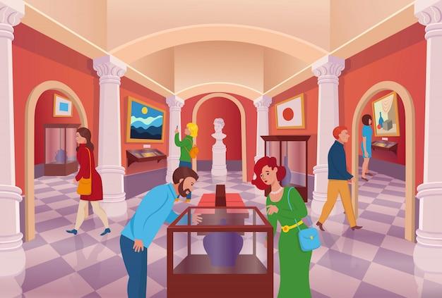 Galería de arte del museo con interior de dibujos animados de vector de personas.
