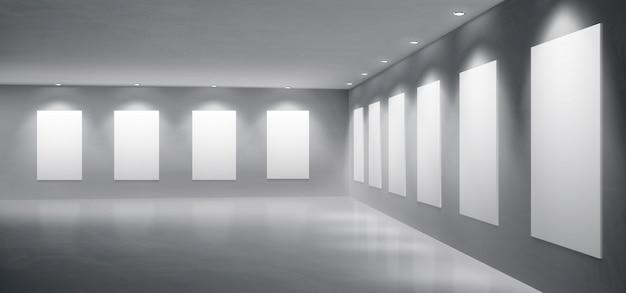 Galería, vector realista de sala de exposiciones del museo