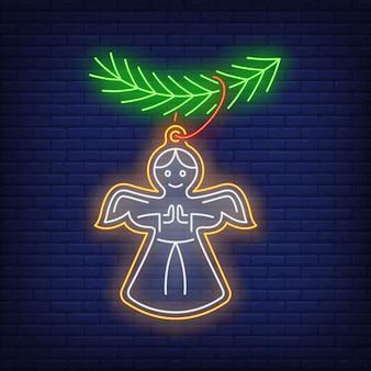 Galleta de ángel de navidad en estilo neón