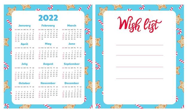 Galleta de jengibre y lista de deseos de piruleta calendario de pared para 2022 fondo de navidad