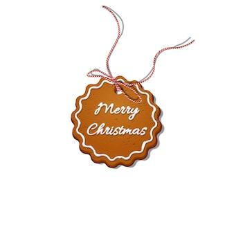 Galleta de navidad con cinta de rayas rojas.