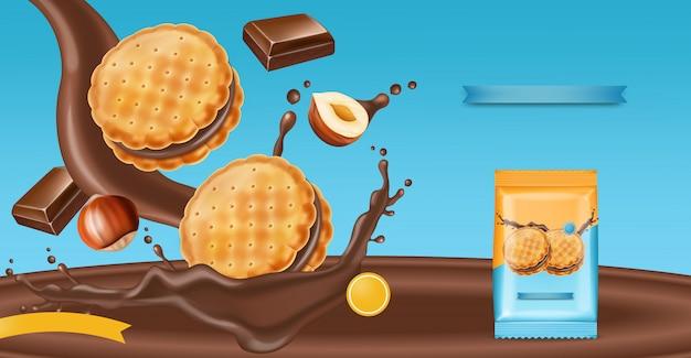 Galletas de crema de chocolate simulacro