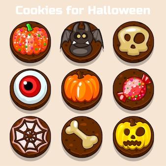 Galletas divertidas de halloween de chocolate de dibujos animados
