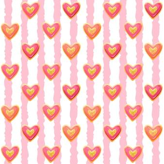 Galletas en forma de corazón con esmalte rosa, patrones sin fisuras