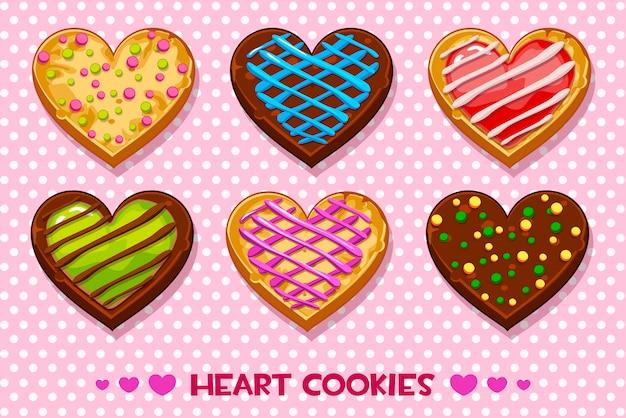 Galletas de jengibre y chocolate en forma de corazón con glaseado multicolor, establezca el feliz día de san valentín