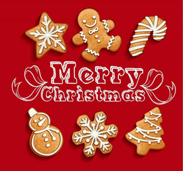 Galletas de jengibre conjunto navideño
