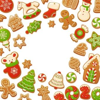 Galletas de jengibre de dibujos animados fondo de navidad