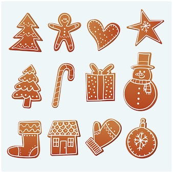 Galletas de jengibre de navidad dibujadas a mano