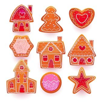 Galletas de jengibre para navidad en diferentes formas.