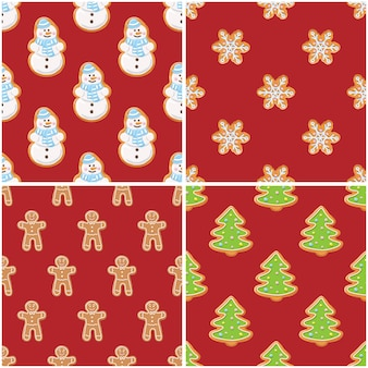 Galletas de jengibre patrones sin fisuras. fondos de navidad y año nuevo set colección.