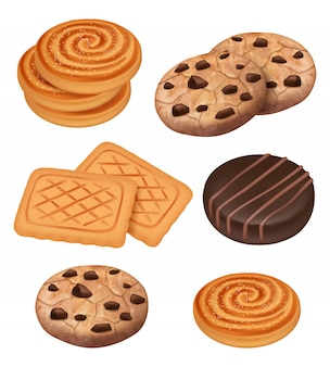 Galletas. plantilla realista de galletas con trozos de chocolate y crema bocadillos dulces cocidos
