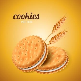 Galletas sándwich con trigo aislado fondo amarillo en ilustración 3d
