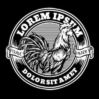 Gallo con emblema clásico retro estilo insignia