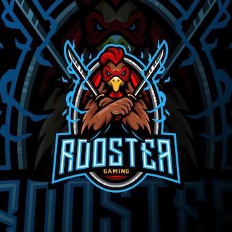 Gallo espada mascota logotipo esport gaming ilustración