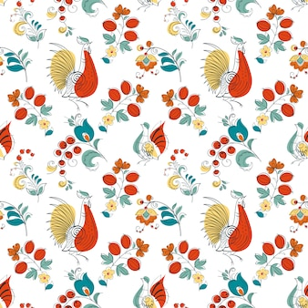 Gallo y flores al estilo ruso.