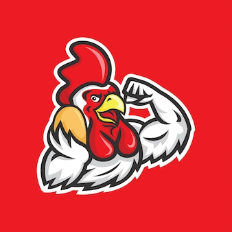 Gallo fuerte con huevo en la ilustración de la mano derecha