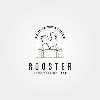 Gallo con logo de arte de línea de cerca