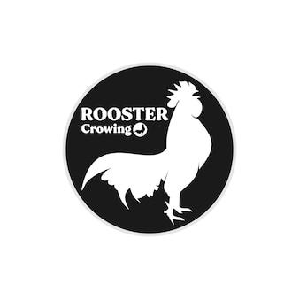 Gallo pollo cacareando silueta logo diseño inspiración