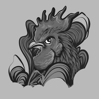 Gallo rojo con línea