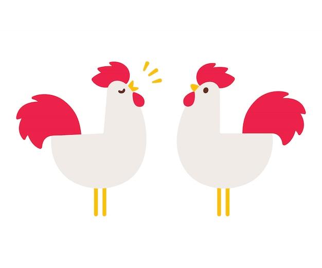 Gallos de dibujos animados simples