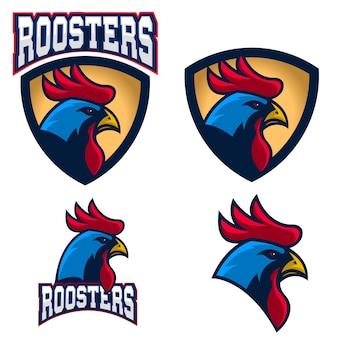 Gallos, logotipo del equipo deportivo o club y plantilla de emblema.