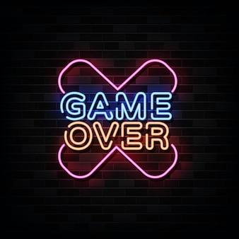 Game over letrero de neón, plantilla de diseño de juegos