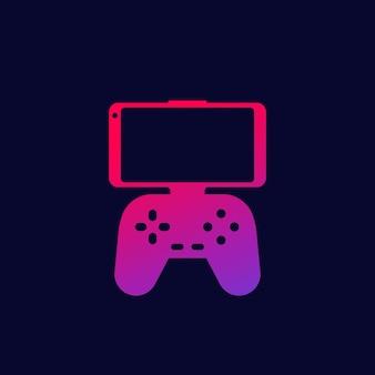 Gamepad para el icono de teléfono inteligente, vector