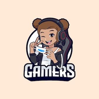 Gamer girl character esport logo, dark skin streamer girl cartoon