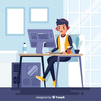 Gamer jugando al ordenador