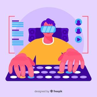 Gamer jugando con la computadora