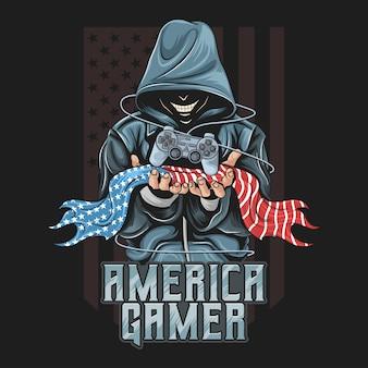 Gamer sostenga un joystick y una ilustración de bandera americana para la comunidad de gamers o el equipo de esport. está en capas editables