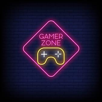 Gamer zone letreros de neón estilo texto