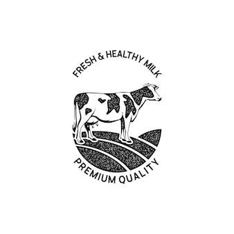 Ganado, plantilla de diseño de logotipo de granja lechera
