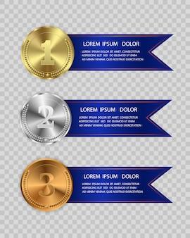 Ganador del concurso, medalla y banner de texto. medails de campeón con cinta. medallas de premio aisladas sobre fondo transparente. ilustración del concepto ganador.