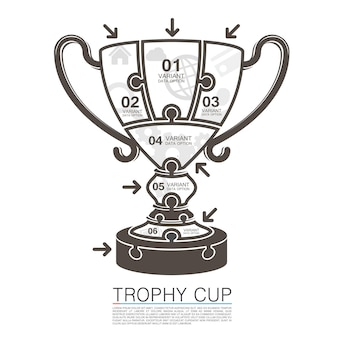 Ganador de la copa con rompecabezas de iconos. ilustración vectorial