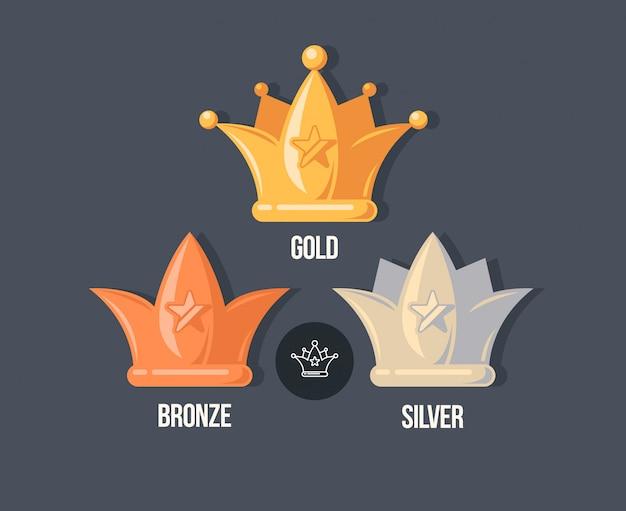 Ganador coronas iconos planos. recompensa ilustración en estilo de dibujos animados.