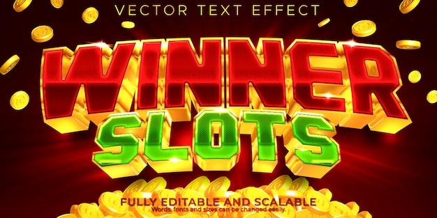 Ganador editable de efecto de texto de tragamonedas de casino y estilo de texto de juego vector gratuito