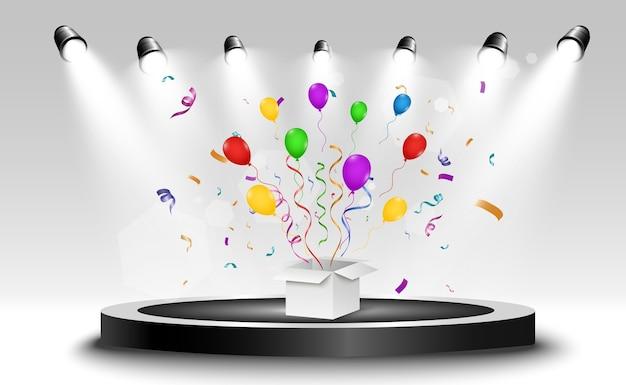Ganador con efectos de luz, confeti y gorro festivo. ilustración ganadora de felicitaciones.