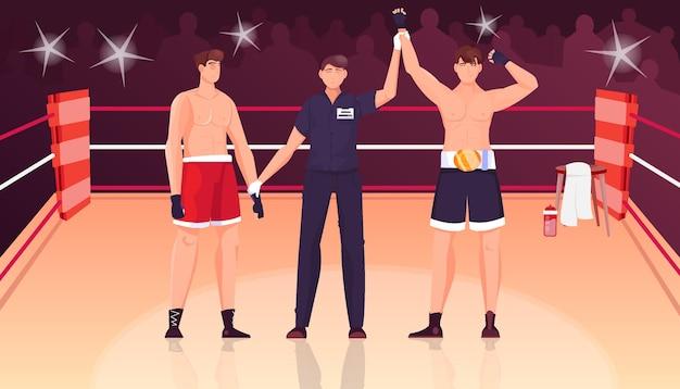 Ganador juez composición plana con vista del ring de boxeo con silueta de multitud y personajes de boxeador ilustración