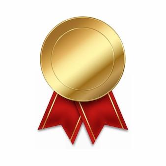 Ganador de medalla de oro vacía con cintas rojas