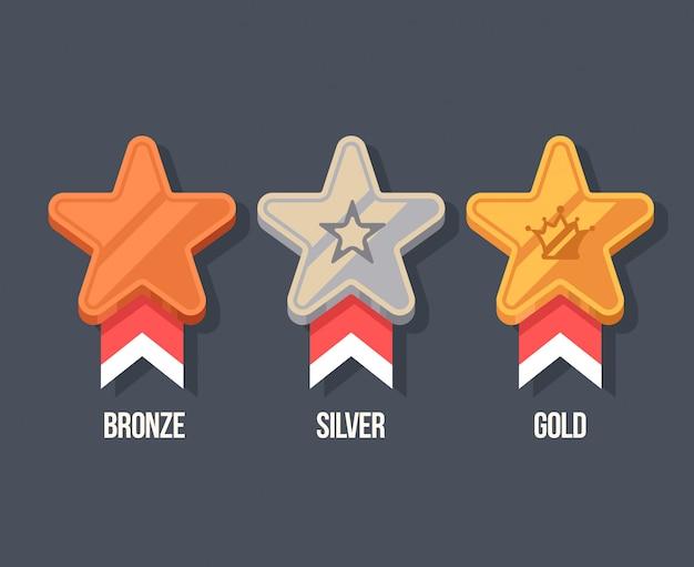 Ganador medallas planos iconos. recompensa ilustración en estilo de dibujos animados.
