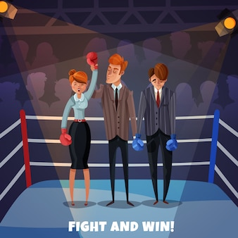 Ganador de negocios personajes perdedores mujeres hombres con ring de boxeo y empresarios luchan y ganan