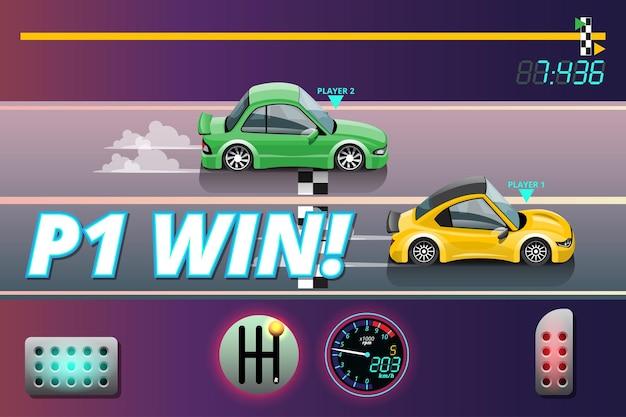 Ganador en el objetivo de carreras de autos de velocidad en tablero a cuadros y primera bandera deportiva a cuadros en el nivel del juego y mostrando tu mejor tiempo en la vuelta.
